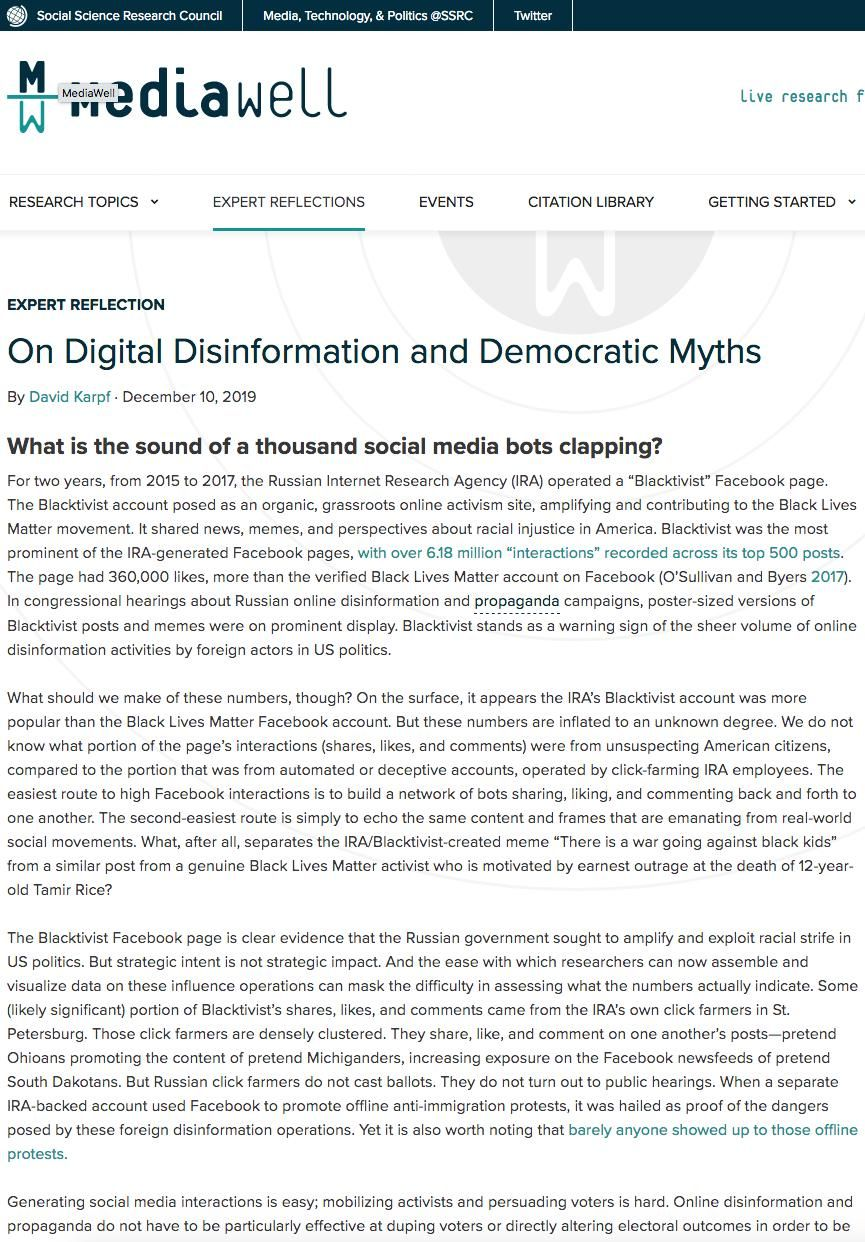 Image of: On Digital Disinformation and Democratic Myths