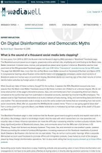 On Digital Disinformation and Democratic Myths summary