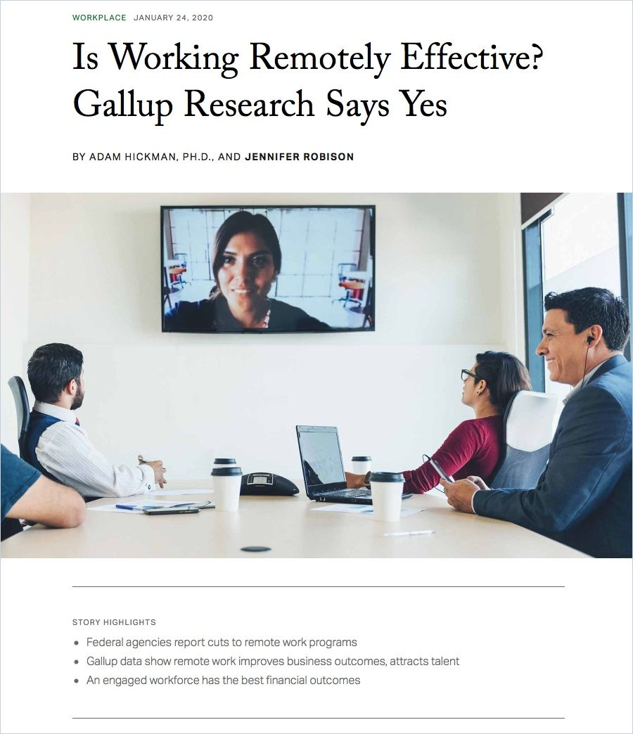 Image of: Is Working Remotely Effective? Gallup Research Says Yes