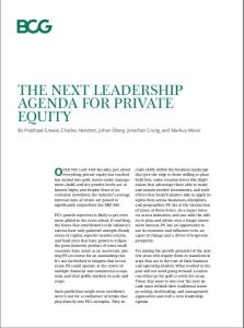 The Next Leadership Agenda for Private Equity