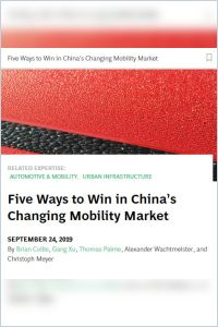 Five Ways to Win in China's Changing Mobility Market summary