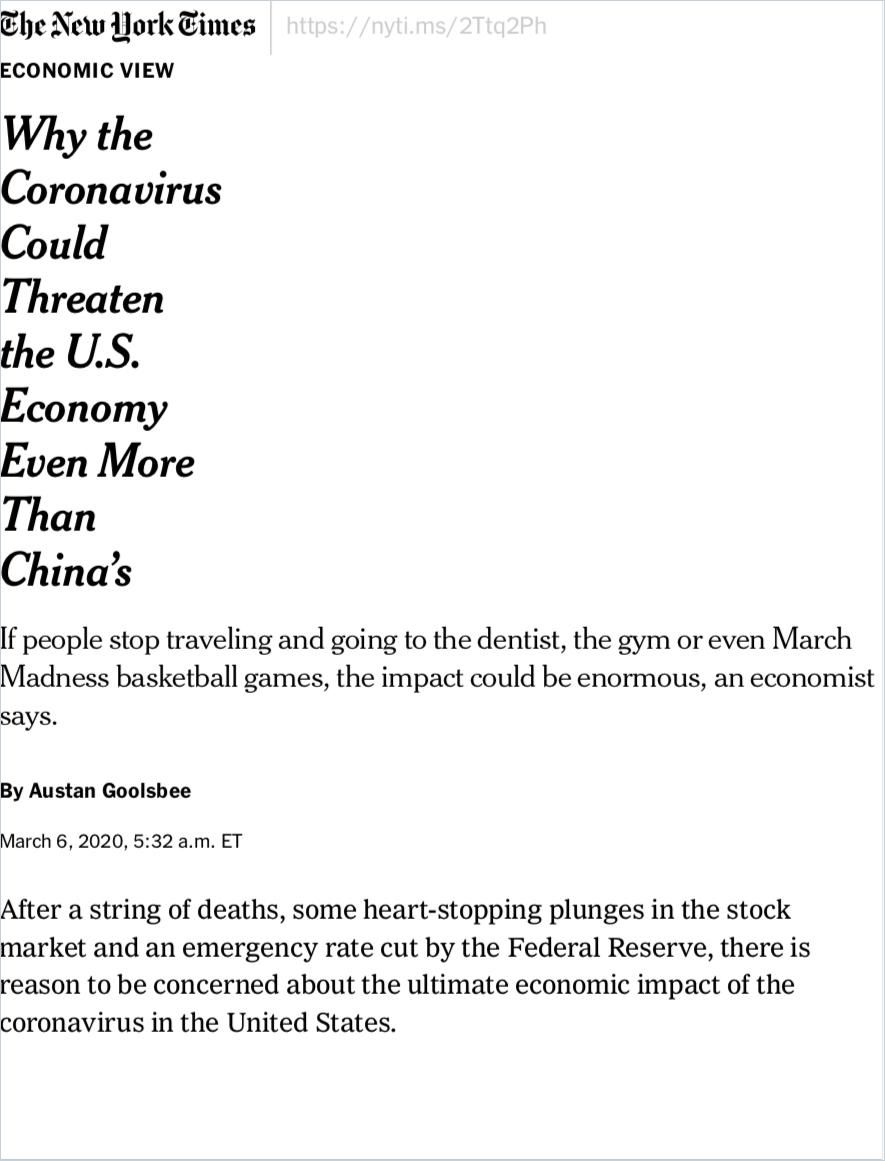 Image of: Why the Coronavirus Could Threaten the U.S. Economy Even More Than China's
