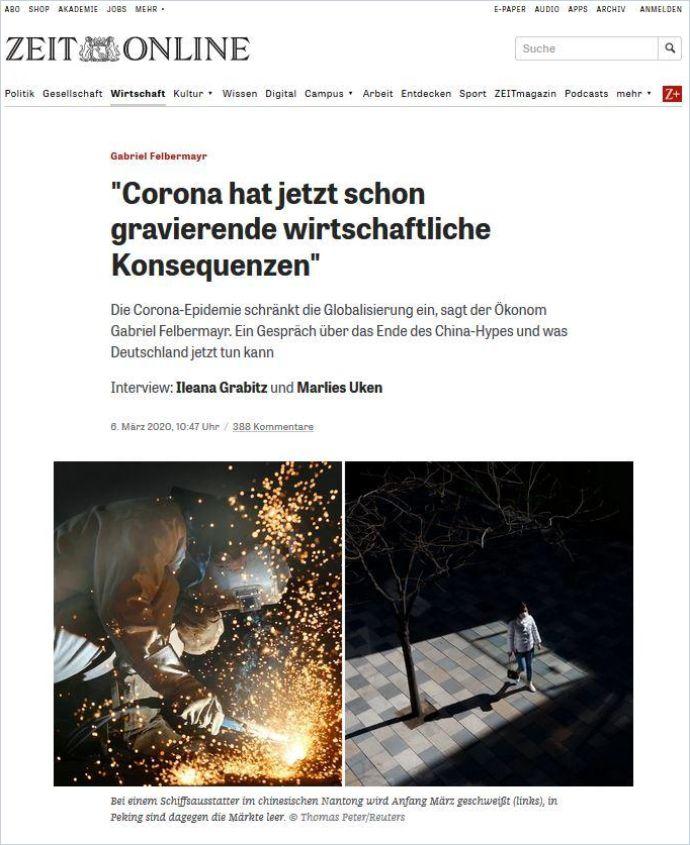"""Image of: """"Corona hat jetzt schon gravierende wirtschaftliche Konsequenzen"""""""