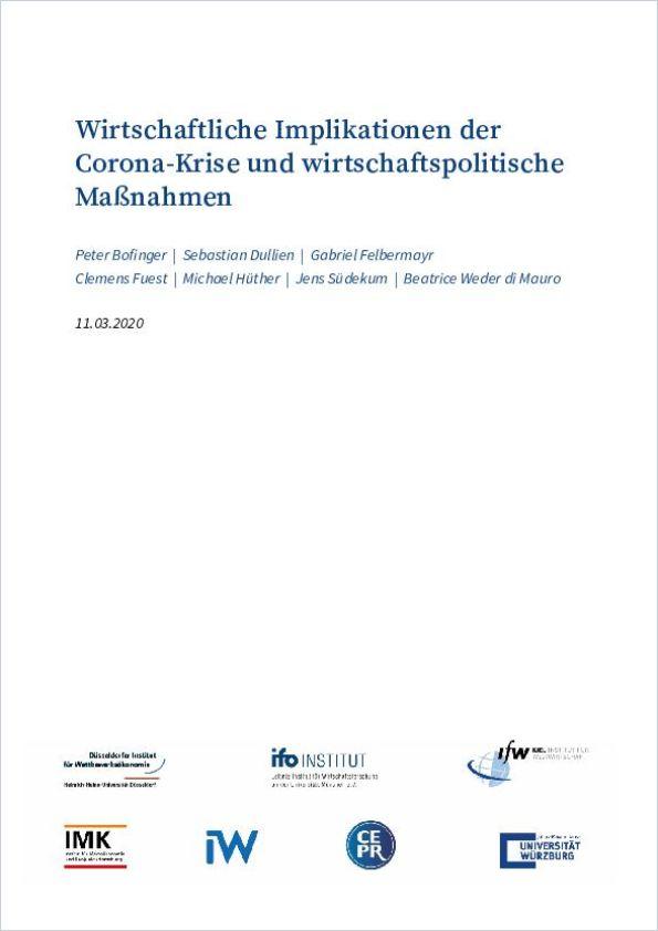 Image of: Wirtschaftliche Implikationen der Corona-Krise und wirtschaftspolitische Maßnahmen