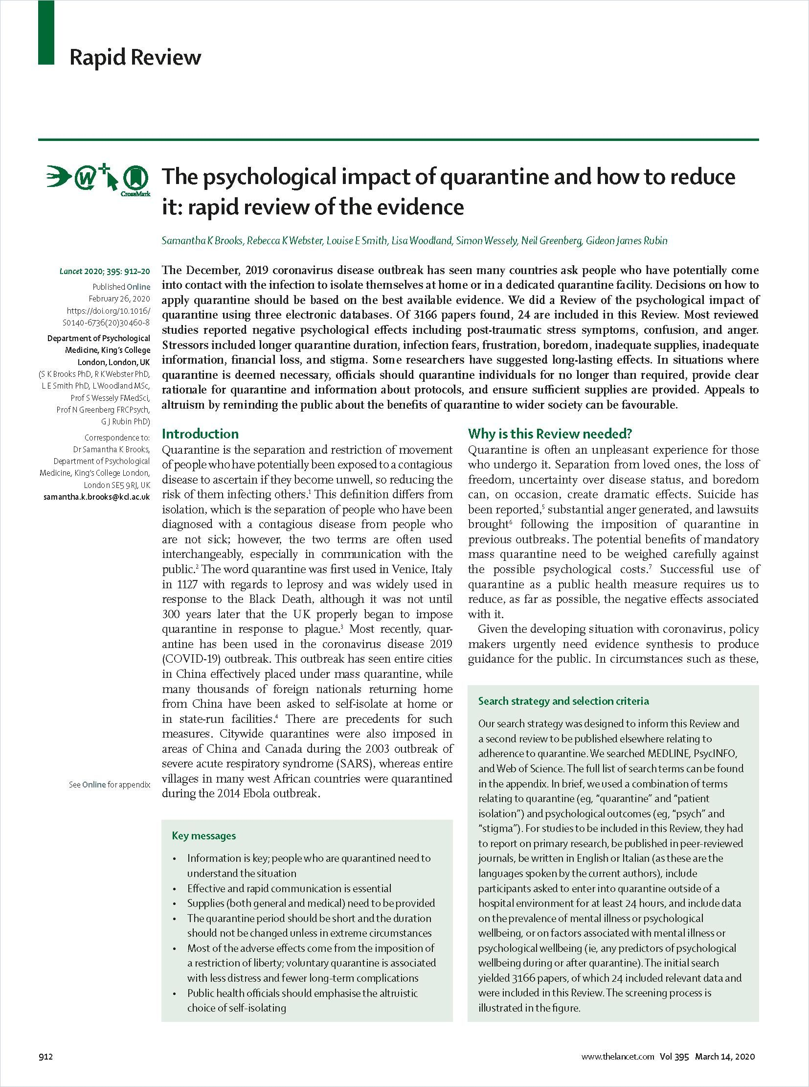 Image of: The Psychological Impact of Quarantine and How to Reduce It