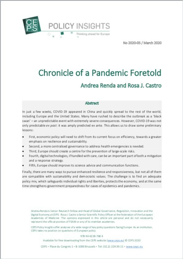 Image of: Chronicle of a Pandemic Foretold