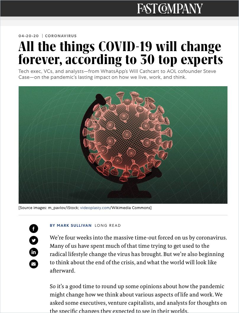 Image of: All the Things Covid-19 Will Change Forever According to 30 Top Experts