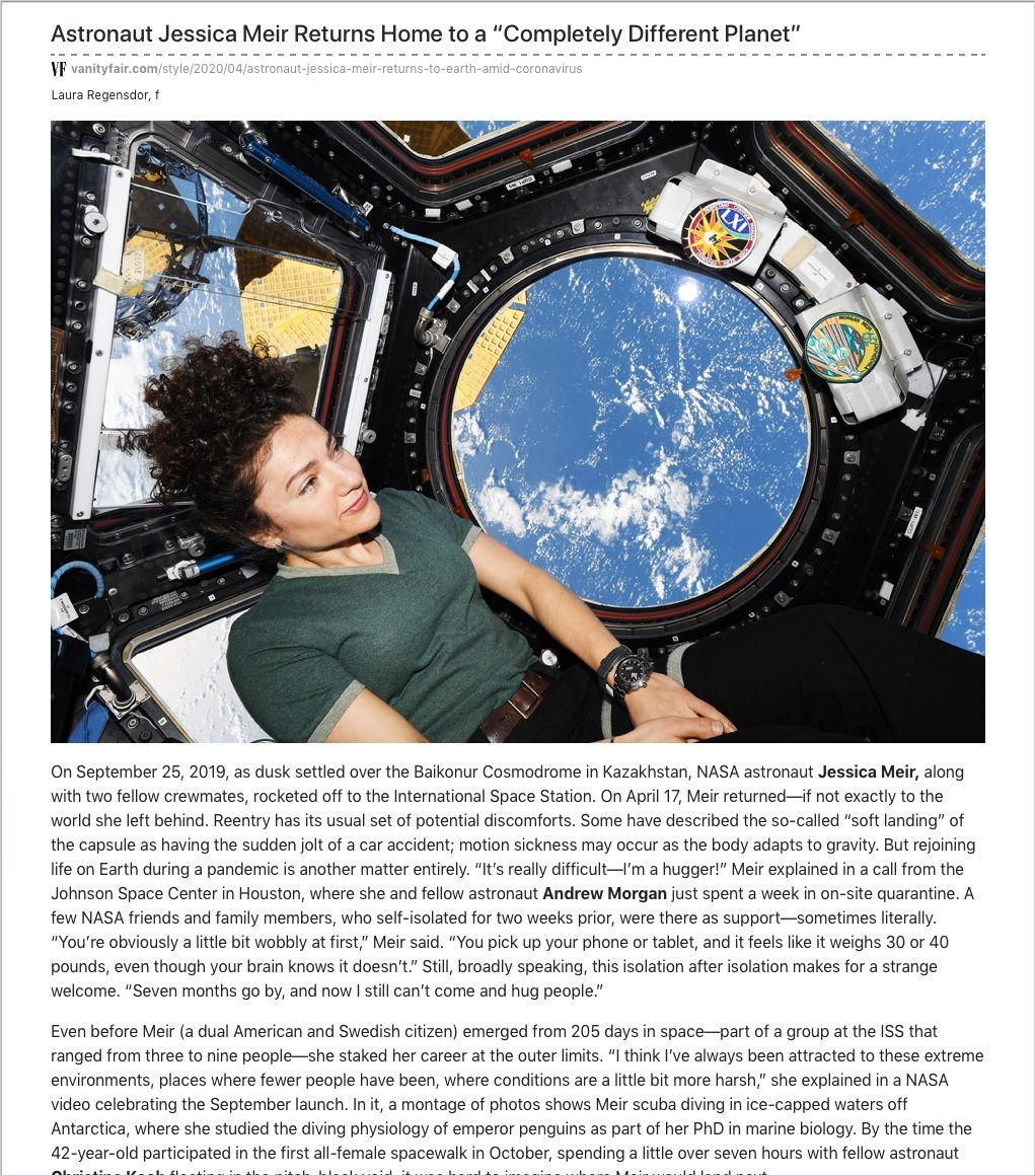"""Image of: Astronaut Jessica Meir Returns Home to a """"Completely Different Planet"""""""
