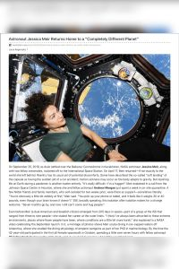 "Astronaut Jessica Meir Returns Home to a ""Completely Different Planet"" summary"