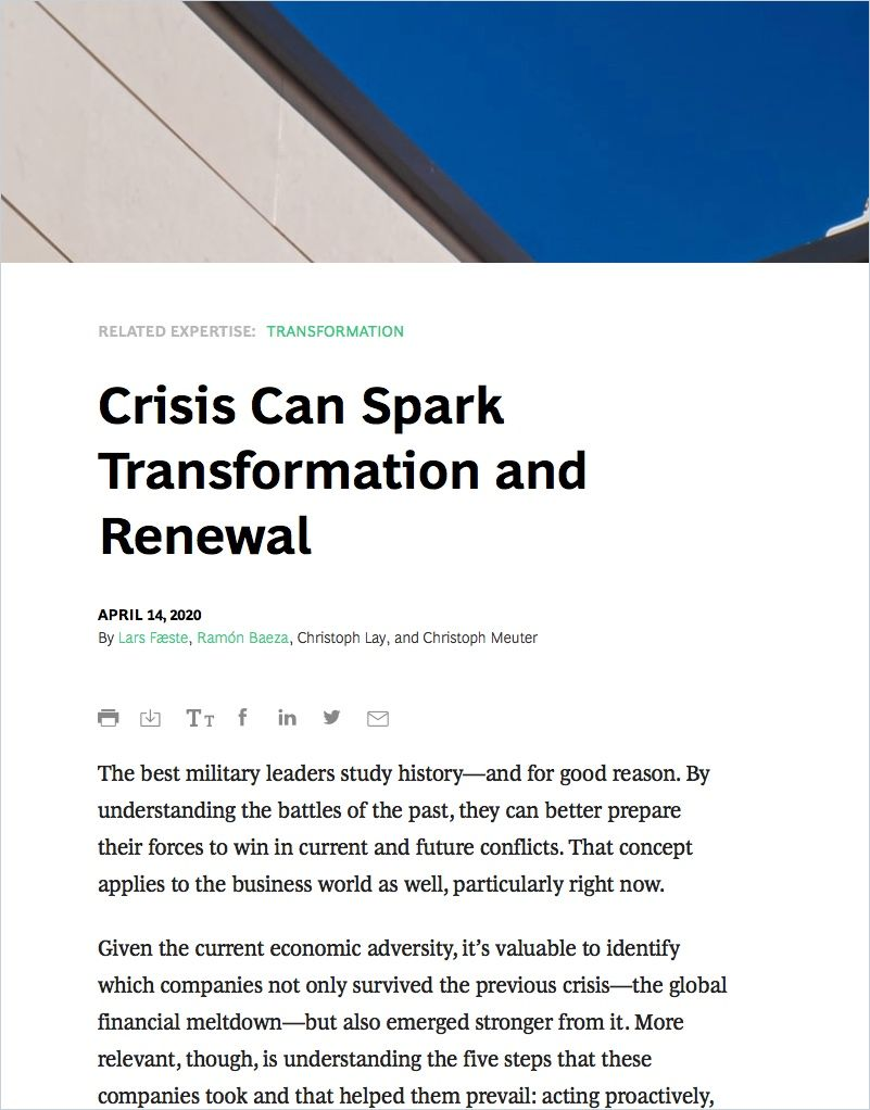 Image of: Crisis Can Spark Transformation and Renewal