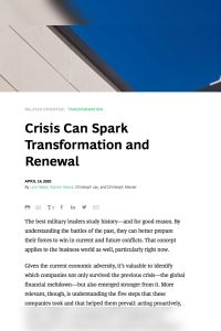 Crisis Can Spark Transformation and Renewal summary