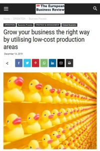 Grow your business the right way by utilising low-cost production areas summary