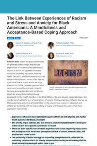The Link Between Experiences of Racism and Stress and Anxiety for Black Americans summary