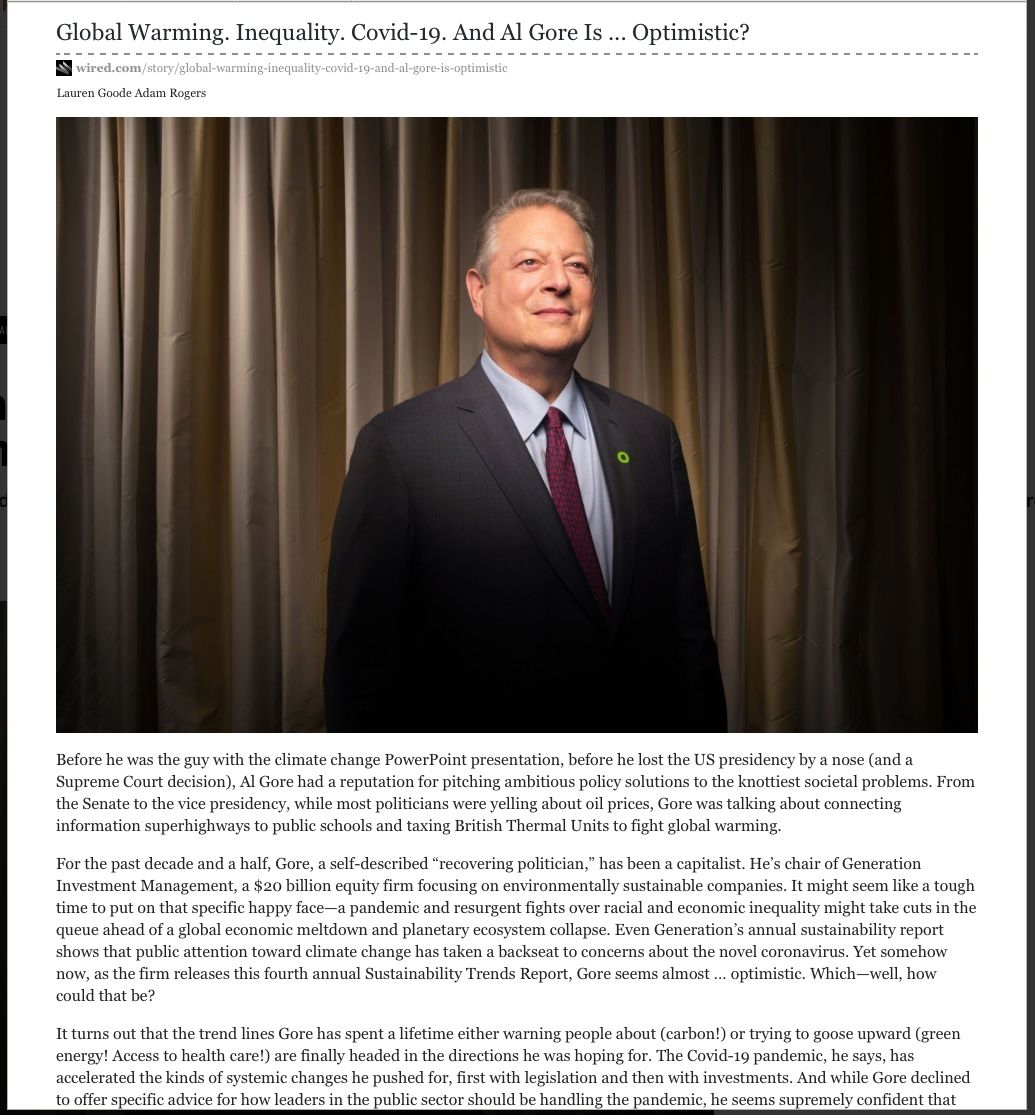 Image of: Global Warming. Inequality. Covid-19. And Al Gore Is…Optimistic?
