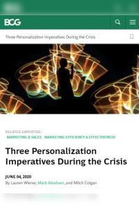 Three Personalization Imperatives During the Crisis summary