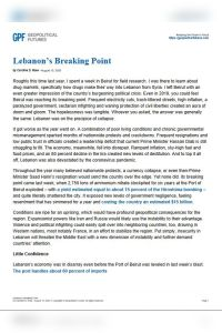 Lebanon's Breaking Point summary