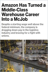 Amazon Has Turned a Middle-Class Warehouse Career into a McJob summary