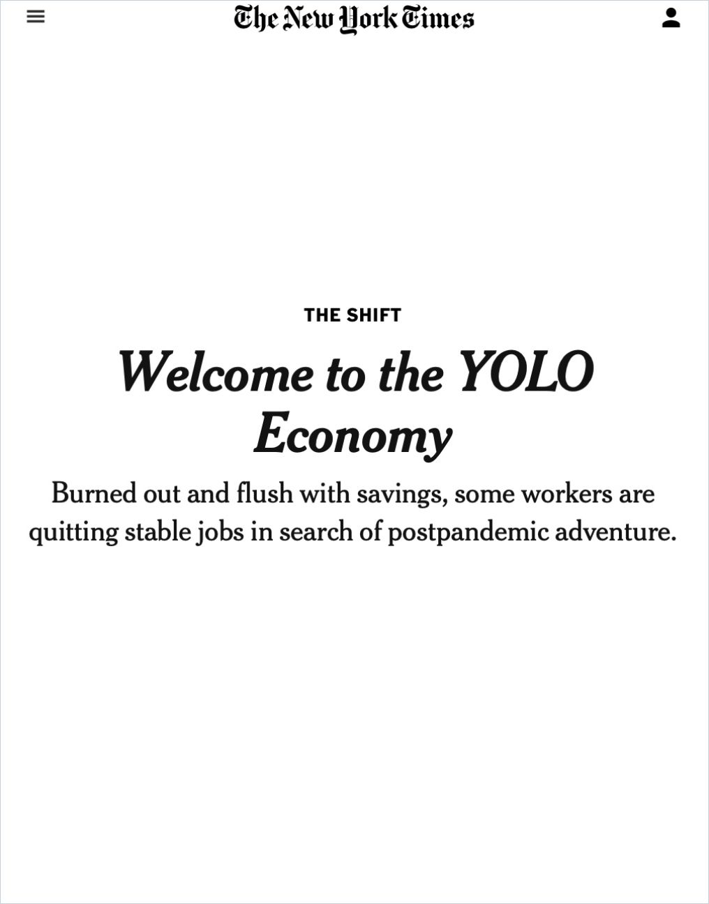 Image of: Welcome to the YOLO Economy