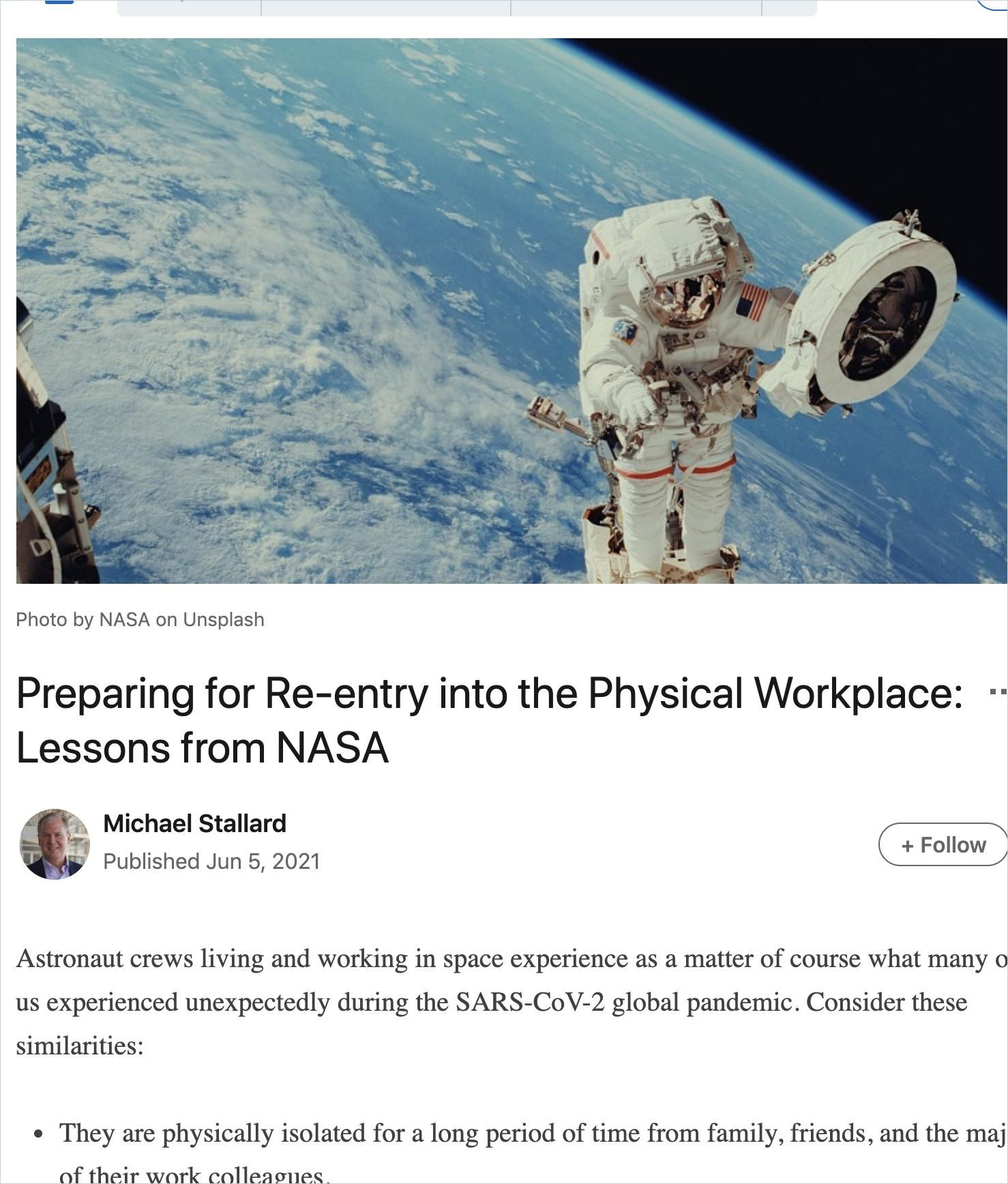 Image of: Preparing for Re-Entry into the Physical Workspace