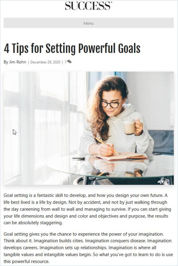 Image of: 4 Tips for Setting Powerful Goals