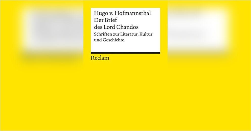 Der Brief Des Lord Chandos Zusammenfassung