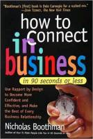 How to Connect in Business in 90 Seconds or Less book summary