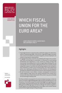 Which Fiscal Union for the Euro Area? summary