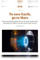 To Save Earth, Go to Mars