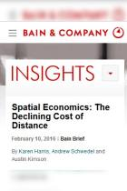 Spatial Economics: The Declining Cost of Distance