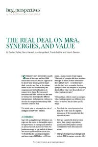 The Real Deal on M&A, Synergies, and Value summary