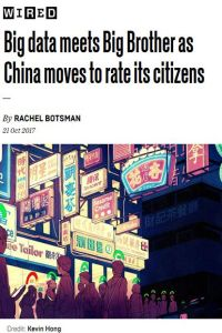 Big Data Meets Big Brother as China Moves to Rate Its Citizens summary
