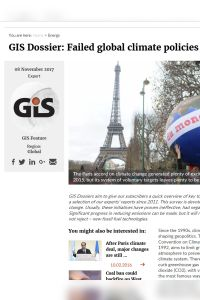 GIS Dossier: Failed Global Climate Policies summary