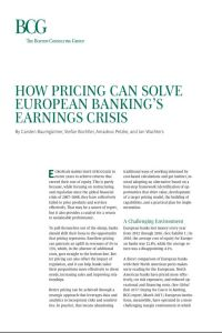 How Pricing Can Solve European Banking's Earnings Crisis summary