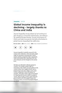 Global income inequality is declining – largely thanks to China and India summary