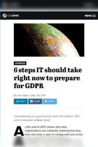 6 Steps IT Should Take Right Now to Prepare for GDPR  summary
