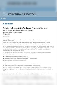 Policies to Ensure Asia's Sustained Economic Success summary