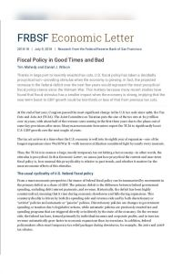 Fiscal Policy in Good Times and Bad summary