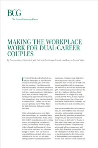 Making the Workplace Work for Dual-Career Couples summary