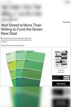 Wall Street Is More Than Willing to Fund the Green New Deal