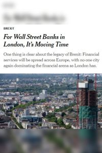 For Wall Street Banks in London, It's Moving Time summary