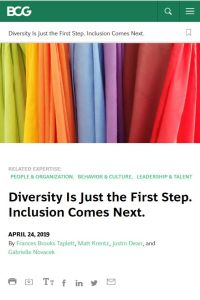 Diversity Is Just the First Step. Inclusion Comes Next. summary