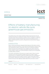 Effects of Battery Manufacturing on Electric Vehicle Life-Cycle Greenhouse Gas Emissions summary