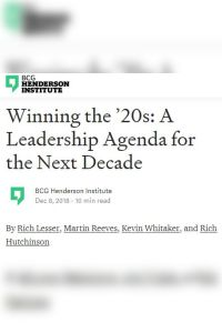 A Leadership Agenda for the Next Decade summary