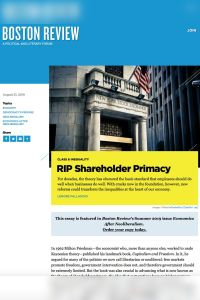 RIP Shareholder Primacy summary