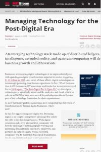 Managing Technology for the Post-Digital Era summary