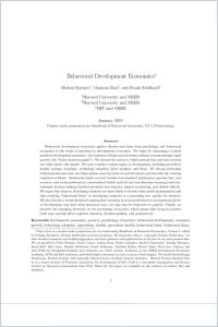 Behavioral Development Economics summary