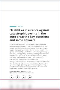 EU Debt as Insurance Against Catastrophic Events in the Euro Area summary
